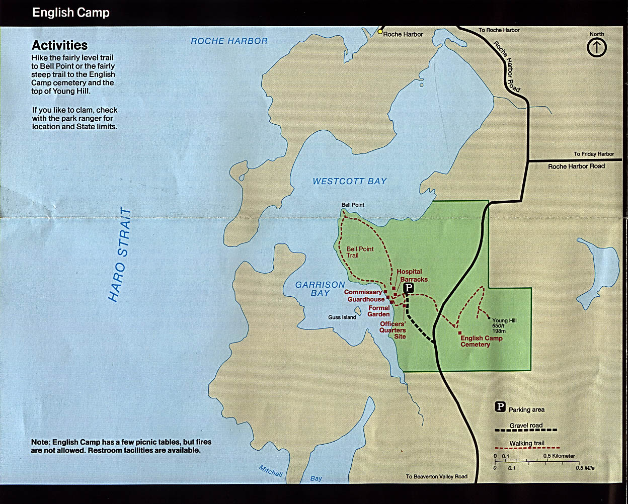 English Camp Map, San Juan Island National Historical Park , Washington, United States