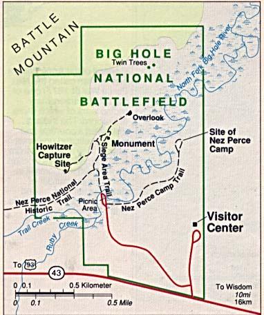 Mapa del Campo de Batalla Nacional Big Hole, Montana, Estados Unidos