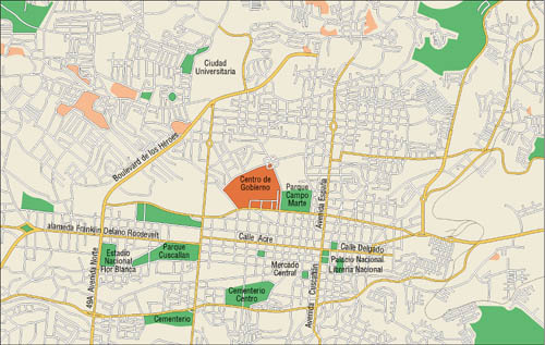 San Salvador Downtown Map, El Salvador