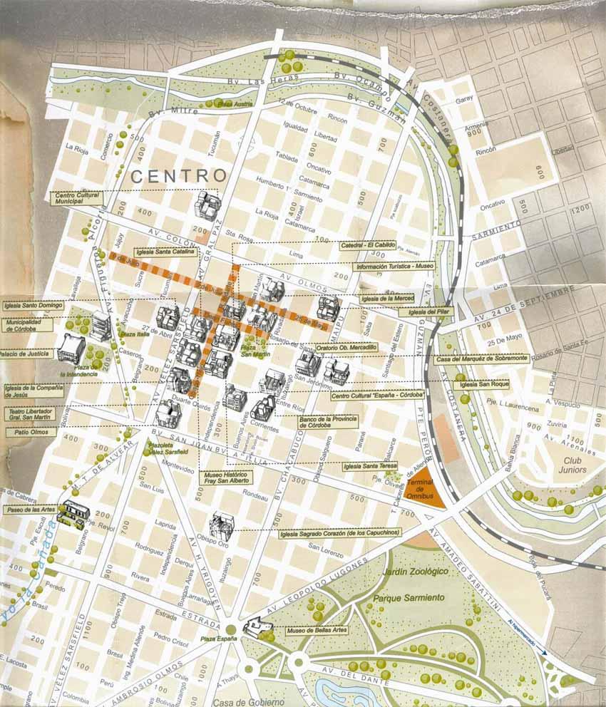 Córdoba City Downtown Map, Argentina