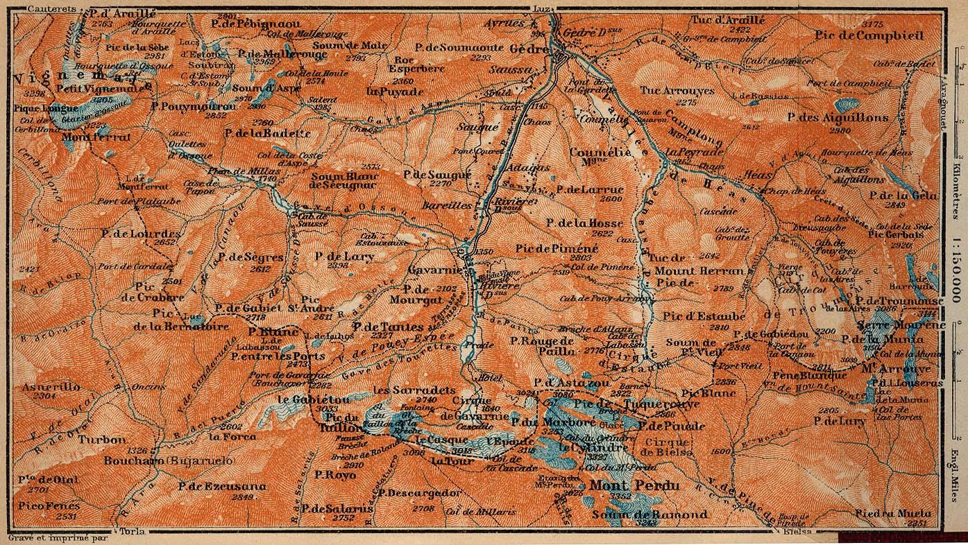 Mapa del Circo de Gavarnie y Monte Perdido, Francia - España 1914
