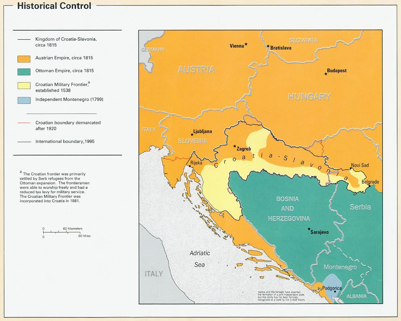 Mapa del Control Histórico de Croacia