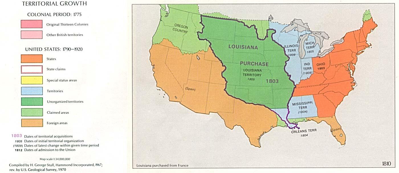 Mapa del Crecimiento Territorial de Estados Unidos  1810
