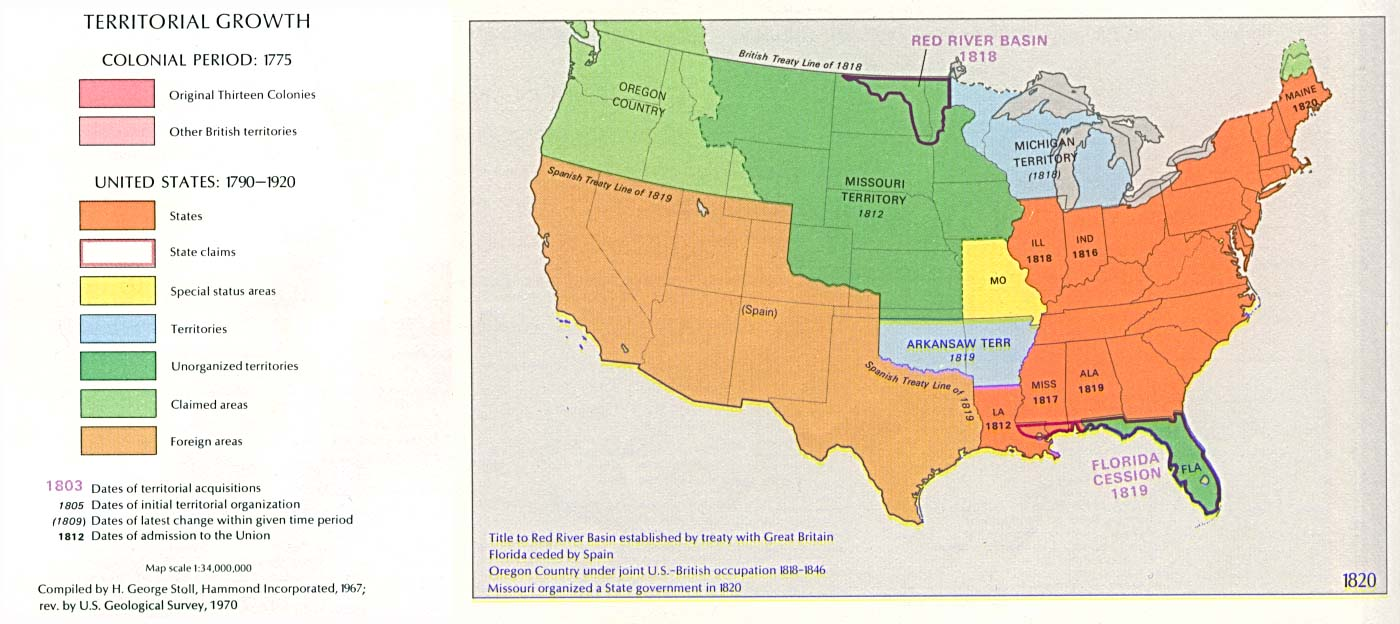United States Territorial Growth Map 1820