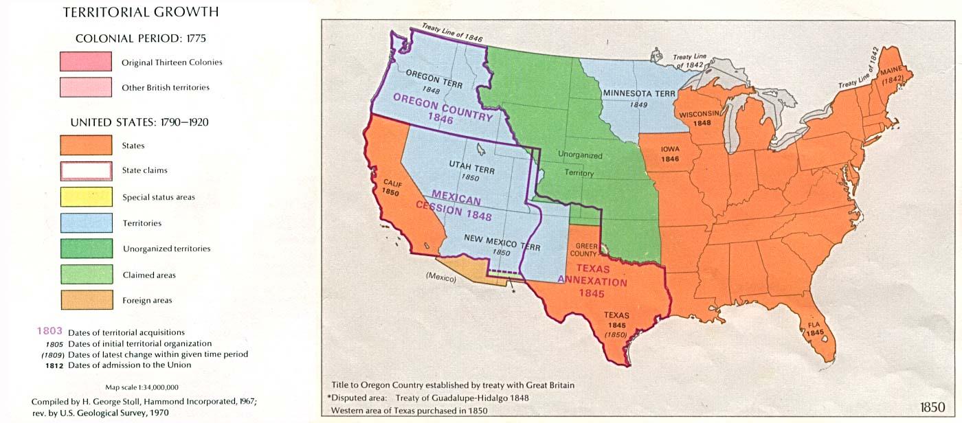 Mapa del Crecimiento Territorial de Estados Unidos  1850