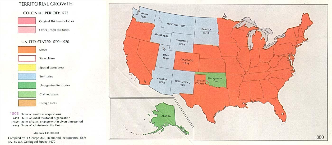 Mapa del Crecimiento Territorial de Estados Unidos  1880