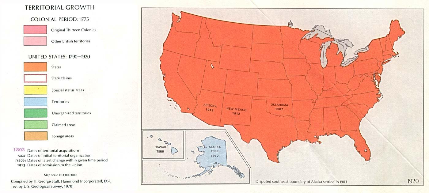 Mapa del Crecimiento Territorial de Estados Unidos  1920