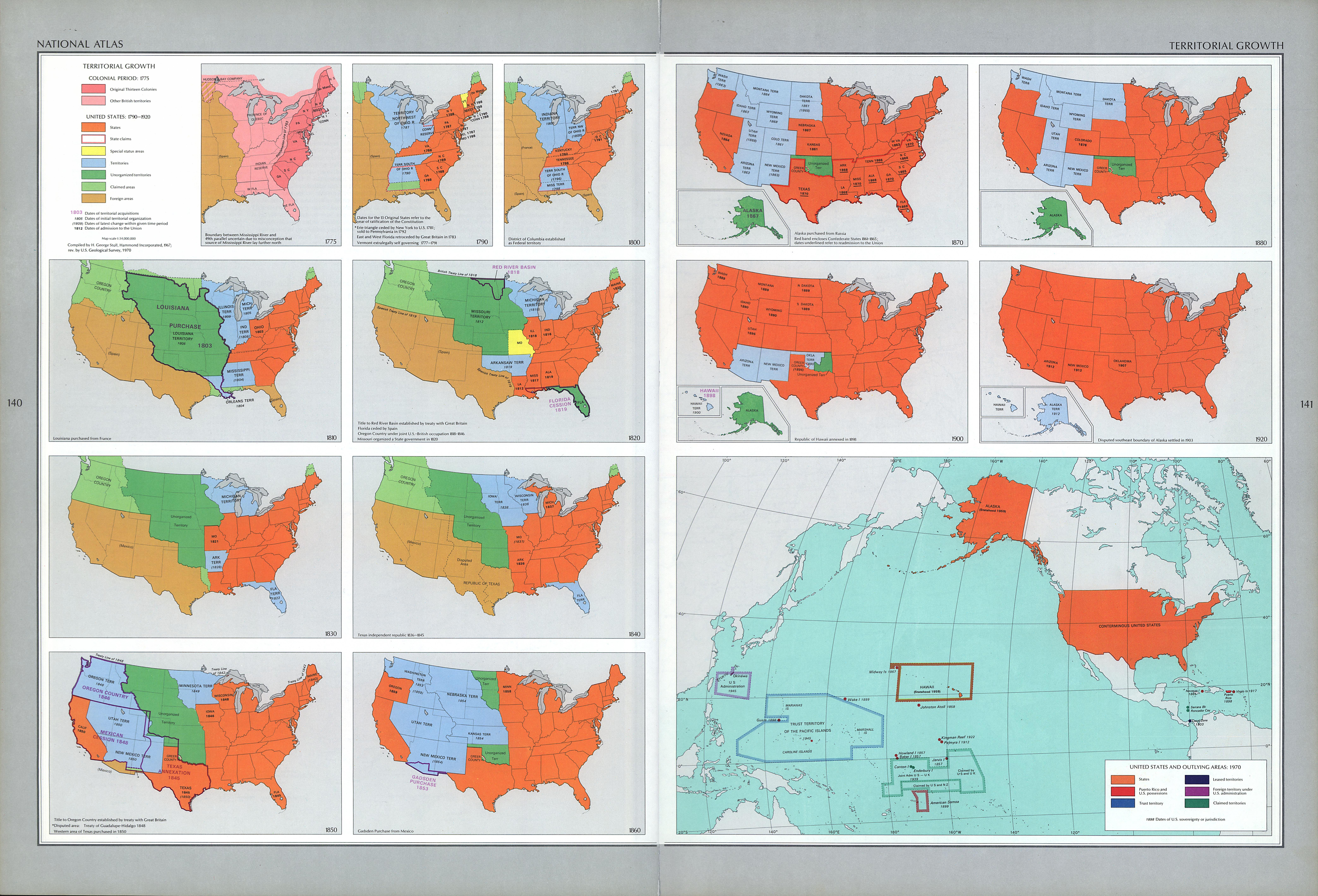 Mapa del Crecimiento Territorial de Estados Unidos
