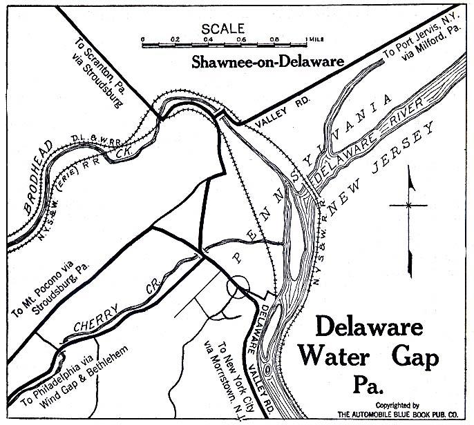 Mapa del Delaware Water Gap, Pensilvania, Estados Unidos 1920