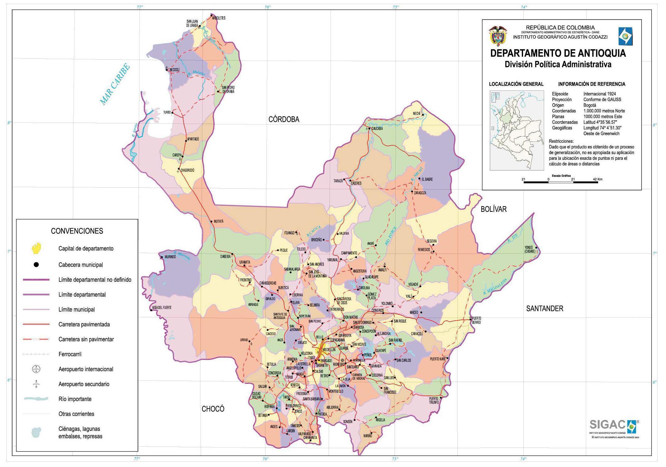 Mapa del Departamento de Antioquia, Colombia