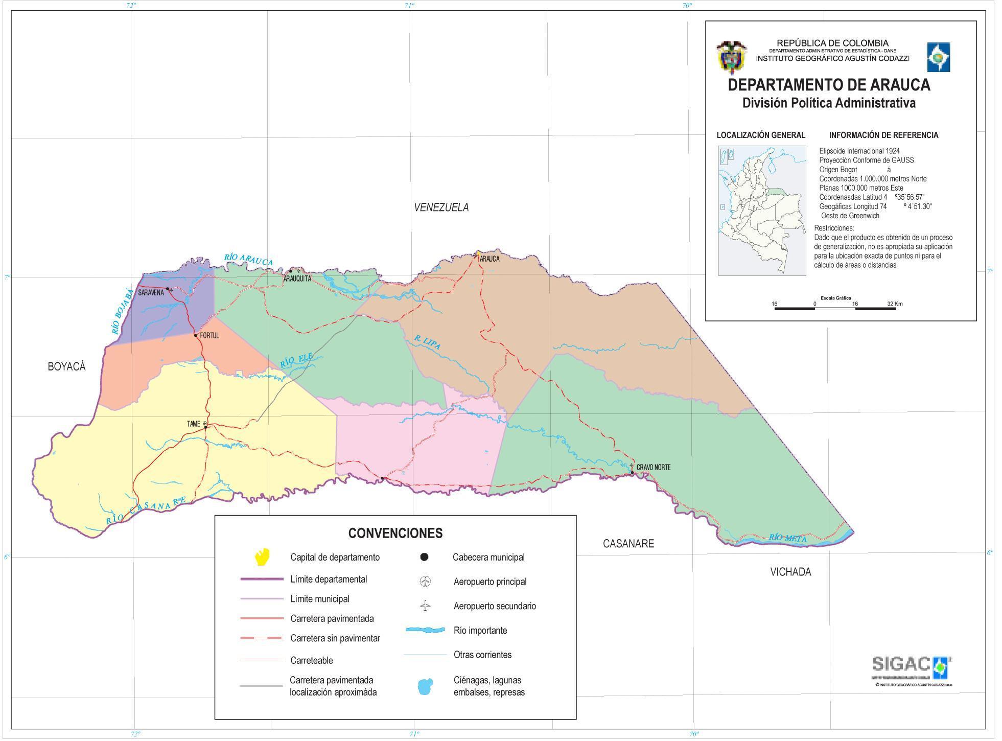 Mapa del Departamento de Arauca, Colombia