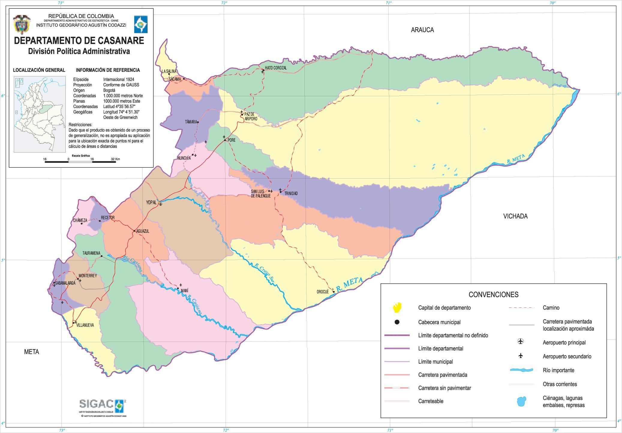 Mapa del Departamento de Casanare, Colombia