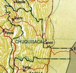 Mapa del Departamento de Chuquisaca, Bolivia