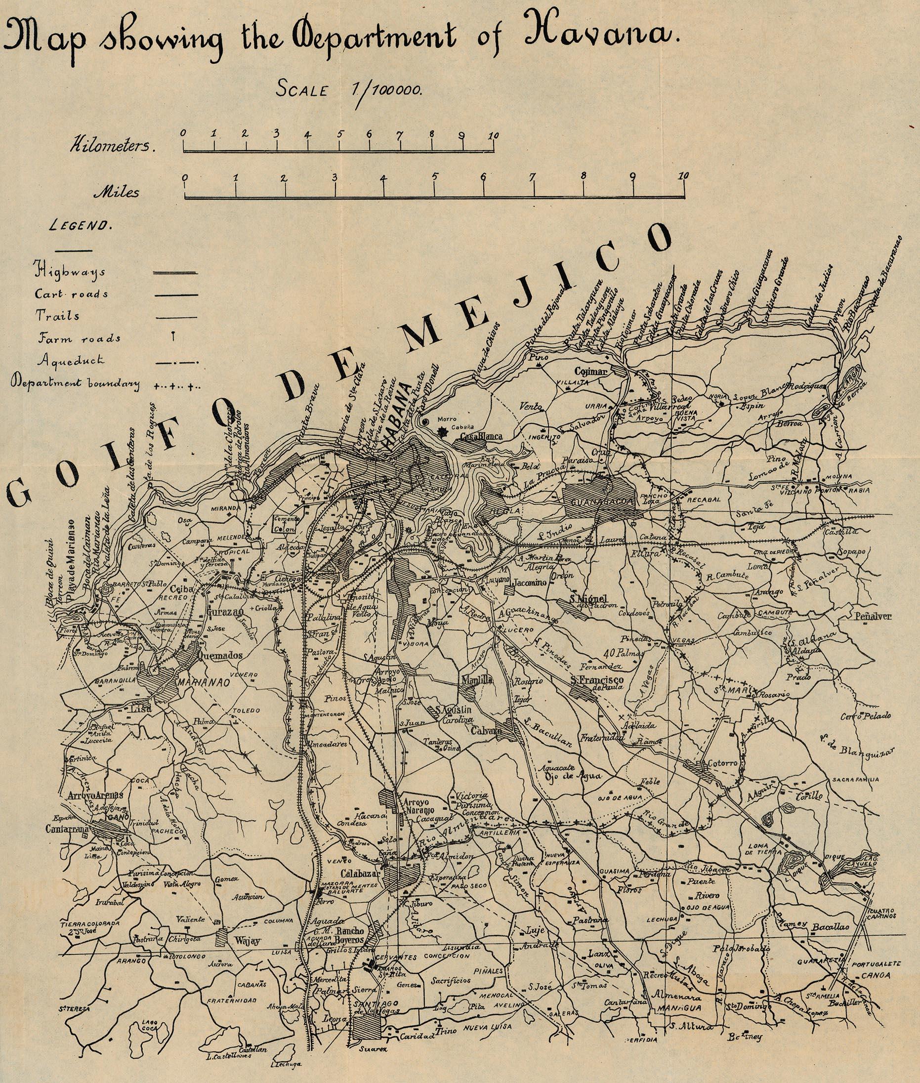 Mapa del Departamento de La Habana, Cuba 1899
