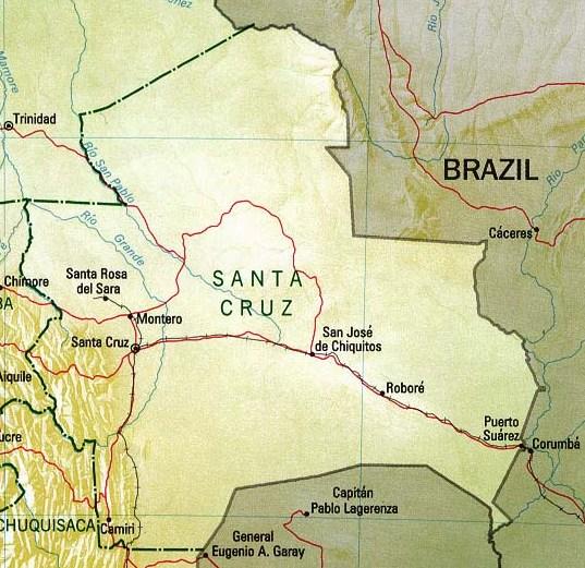 Santa Cruz Department Map, Bolivia