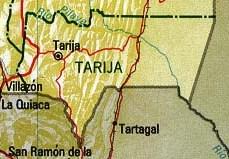 Mapa del Departamento de Tarija, Bolivia