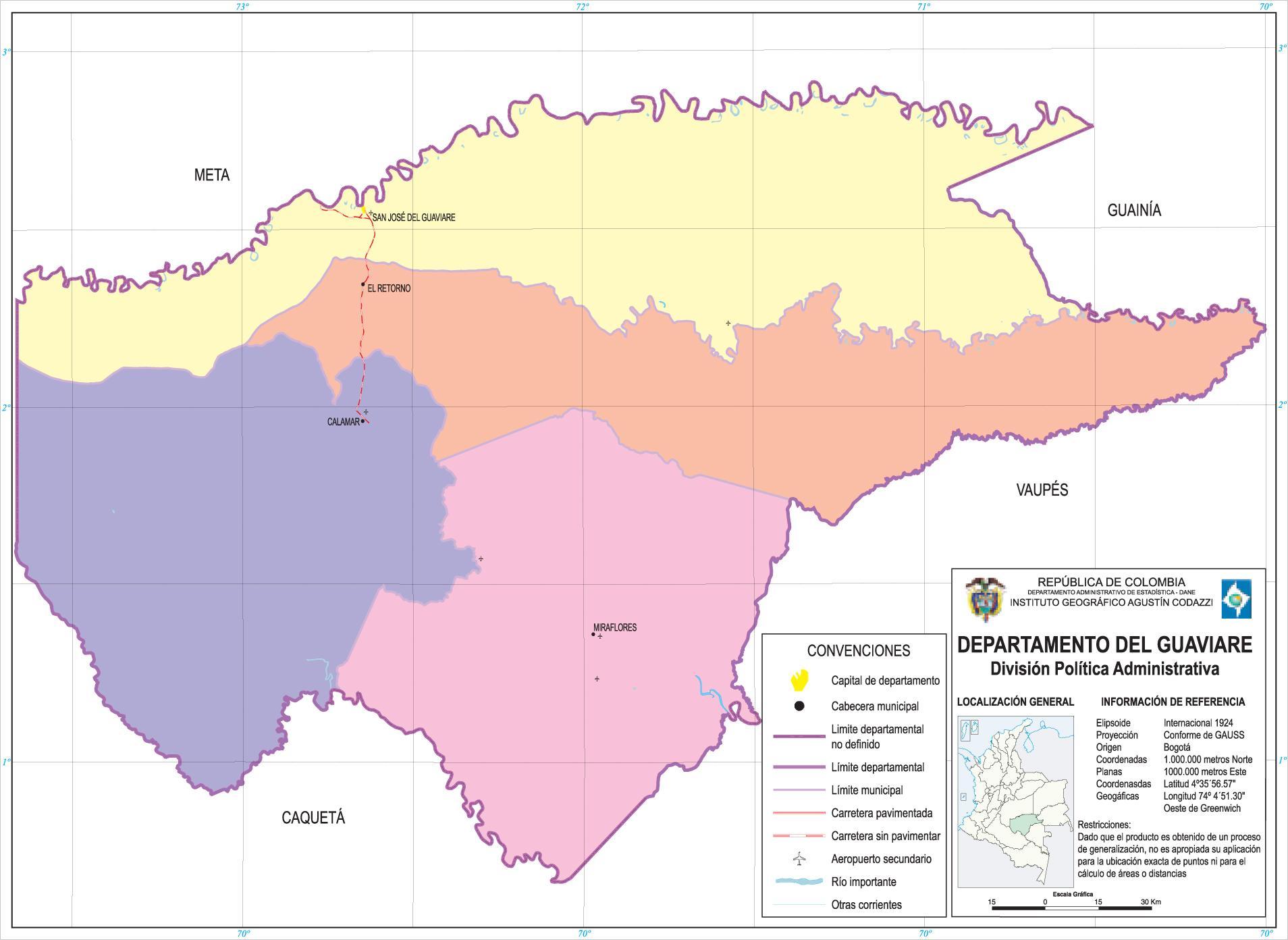 Mapa del Departamento del Guaviare, Colombia