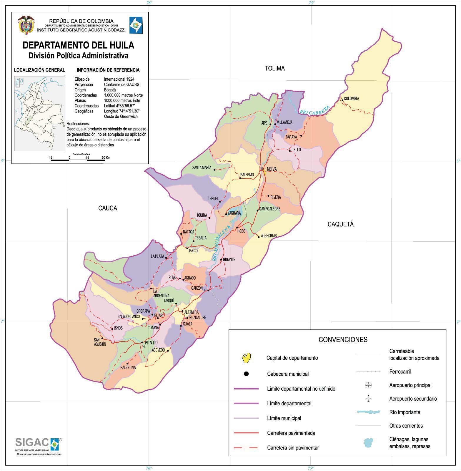 Mapa del Departamento del Huila, Colombia