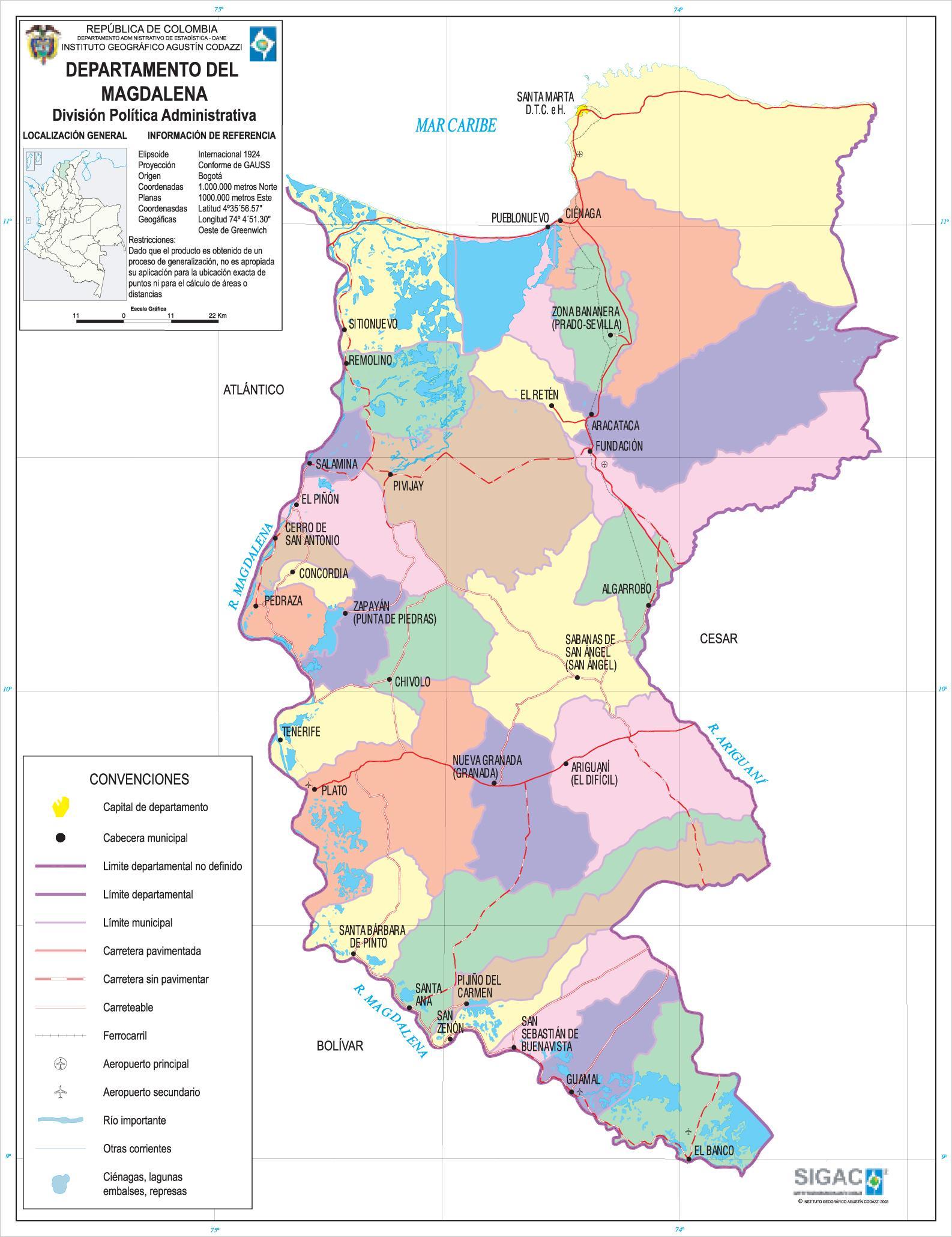 Mapa del Departamento del Magdalena, Colombia