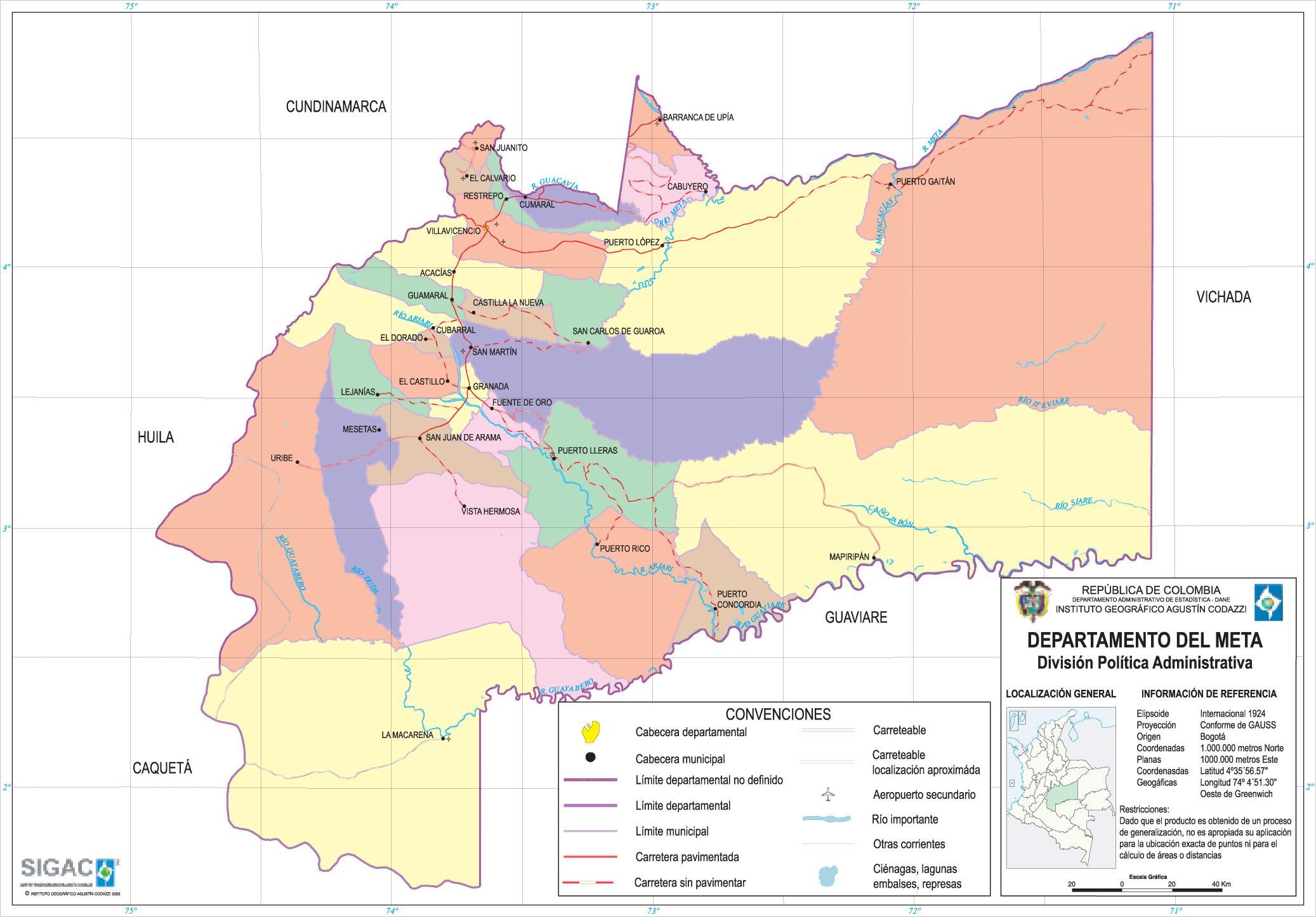 Mapa del Departamento del Meta, Colombia
