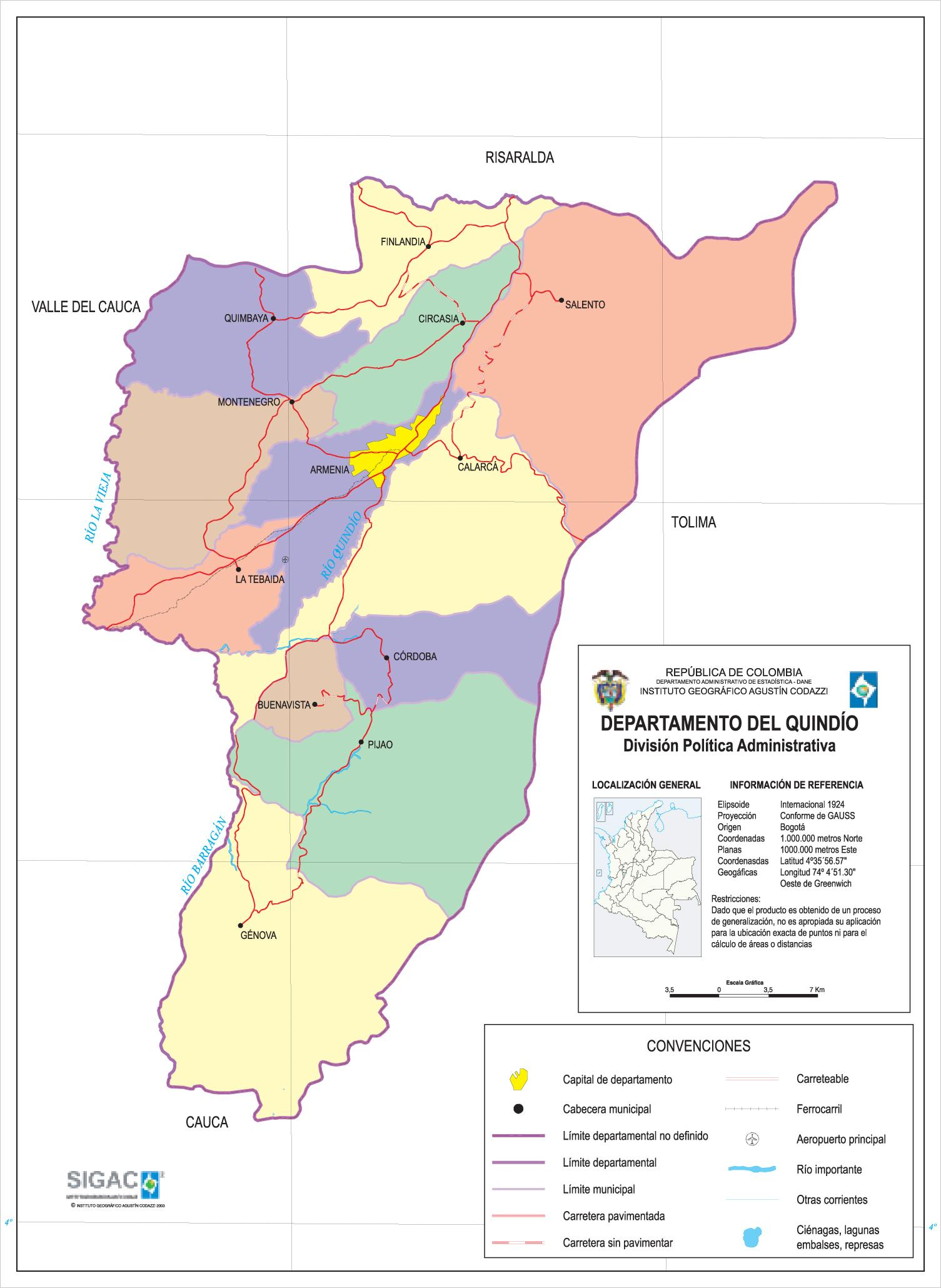 Mapa del Departamento del Quindio, Colombia