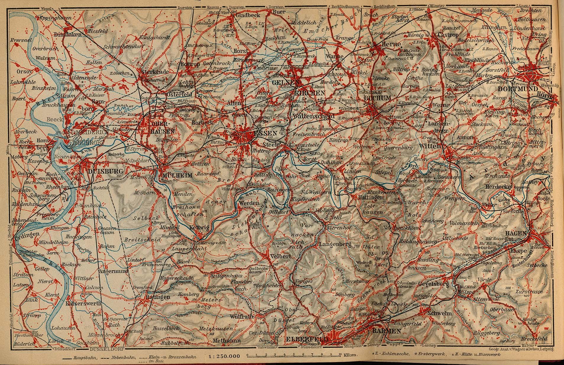 Mapa del Distrito Carbonero Renano-Westfálico, Alemania 1910