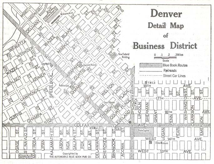 Business District Map, Denver, Colorado, United States 1920