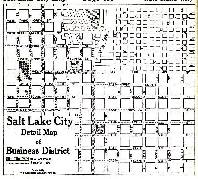 Mapa del Distrito Comercial de Salt Lake City, Utah, Estados Unidos 1920