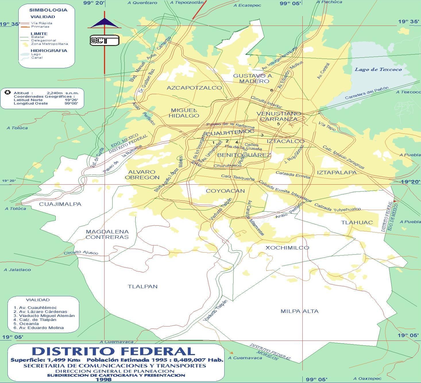 Mapa del Distrito Federal, Mexico