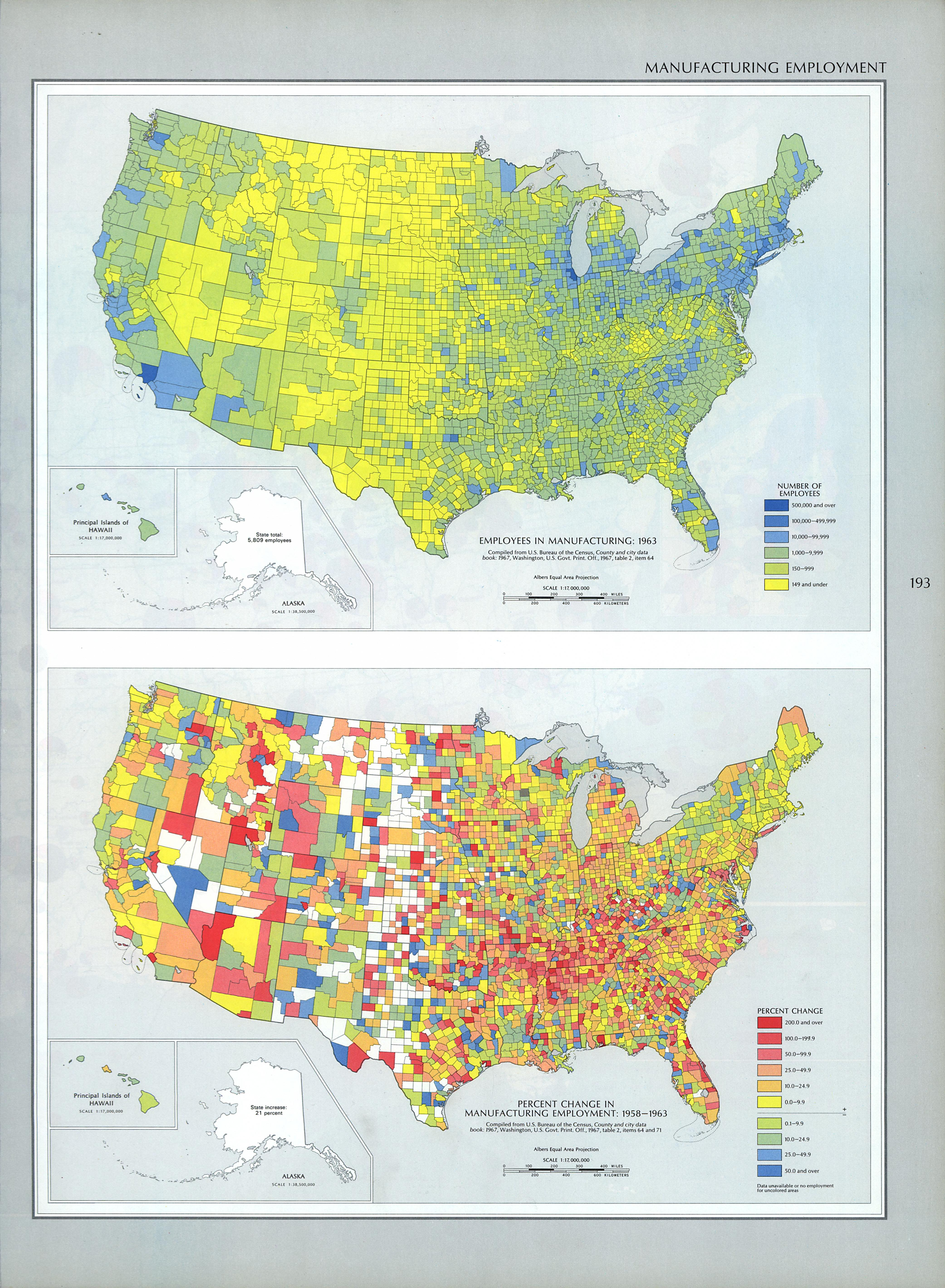 Map of Employees in Manufacturing, United States