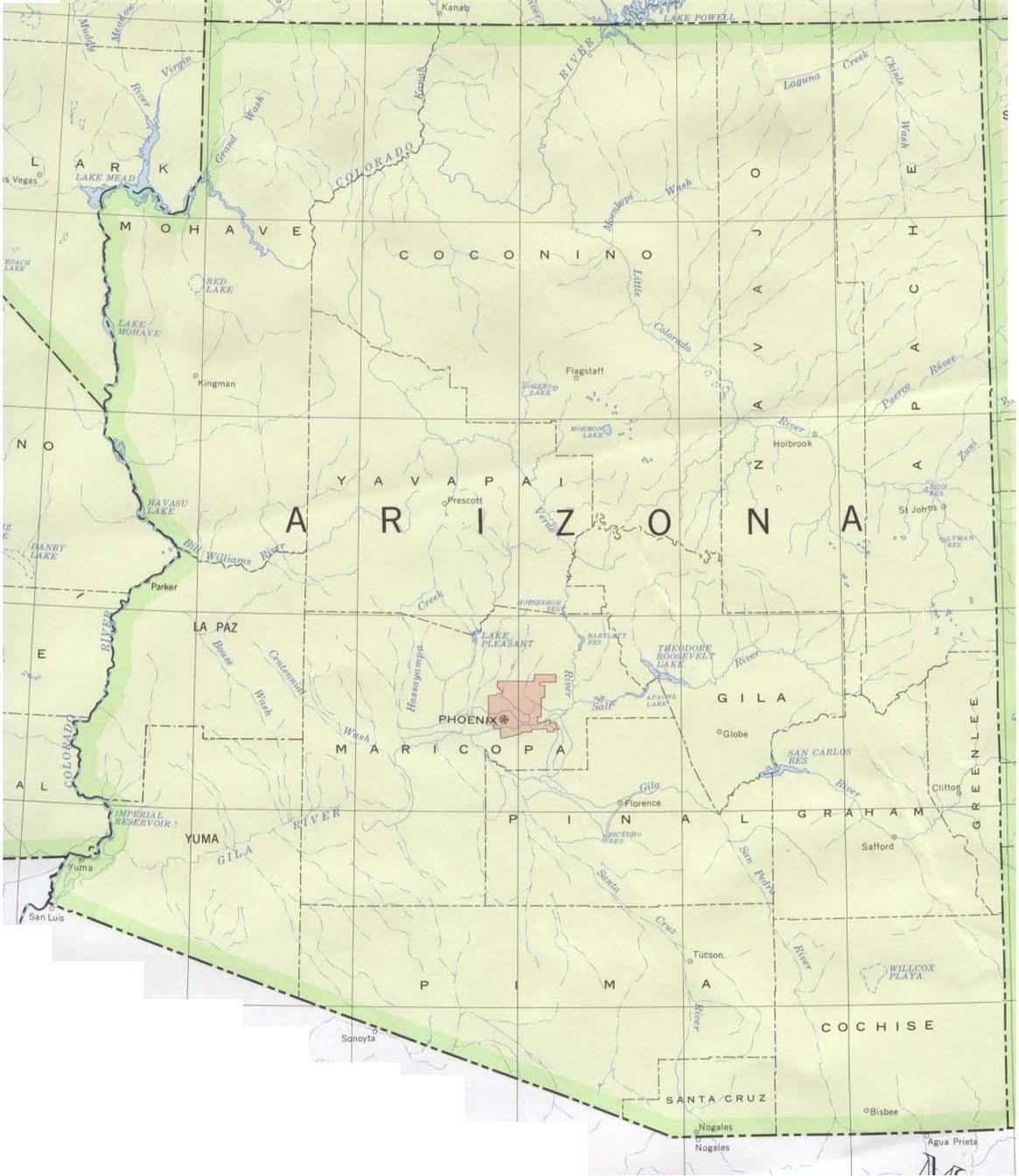 Mapa del Estado de Arizona, Estados Unidos