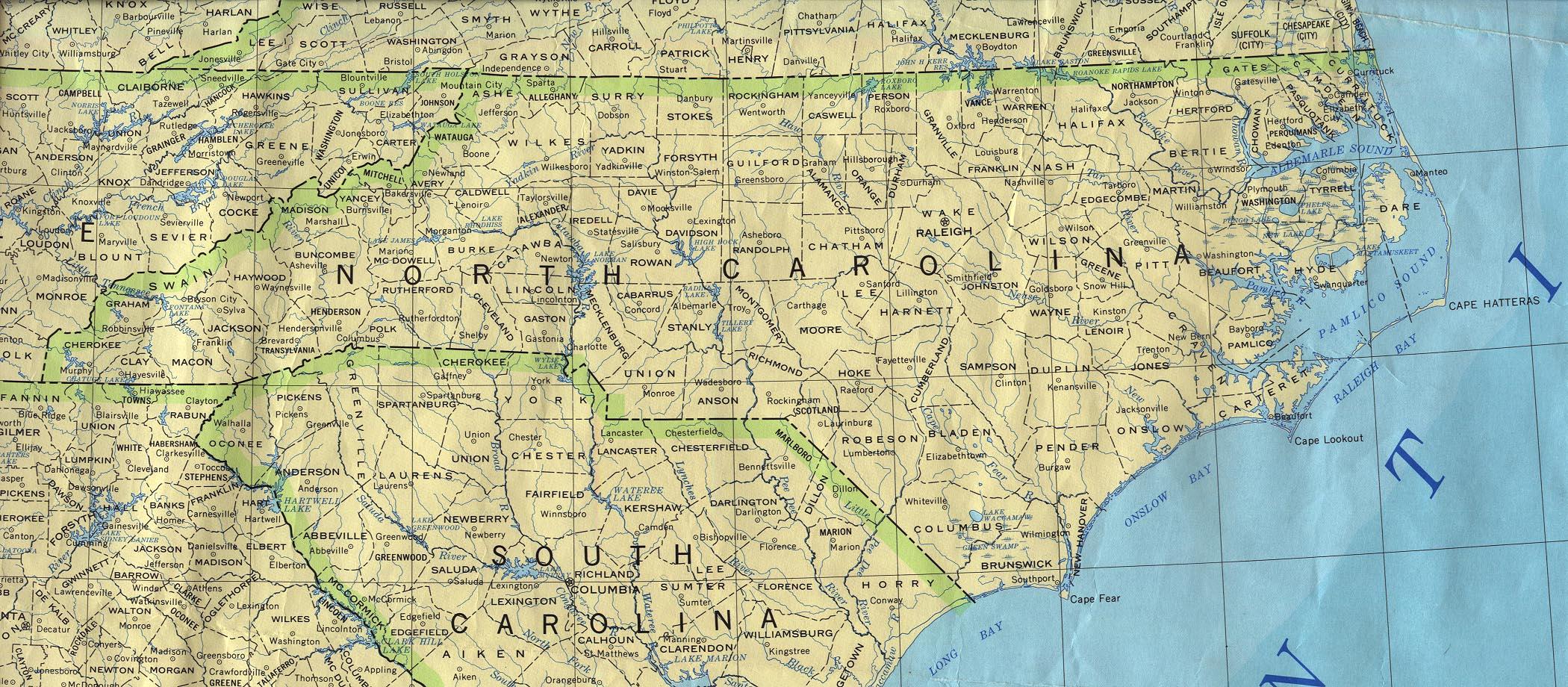 Mapa del Estado de Carolina del Norte, Estados Unidos