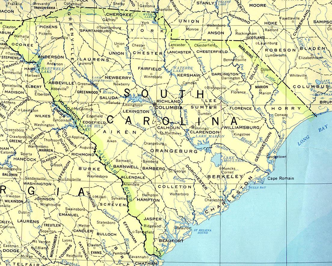 Mapa del Estado de Carolina del Sur, Estados Unidos