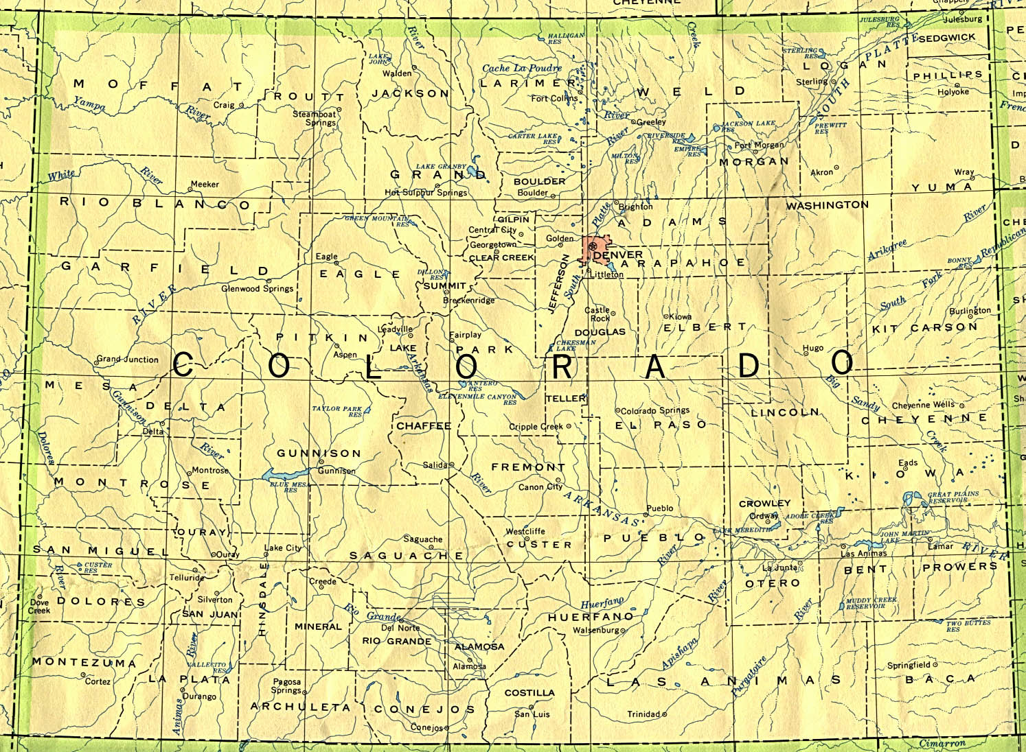 Mapa del Estado de Colorado, Estados Unidos