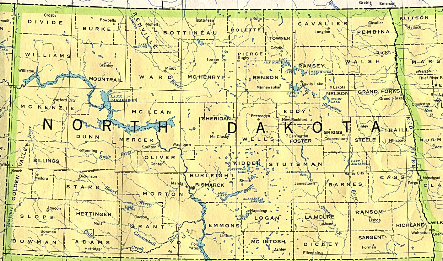 North Dakota State Map, United States