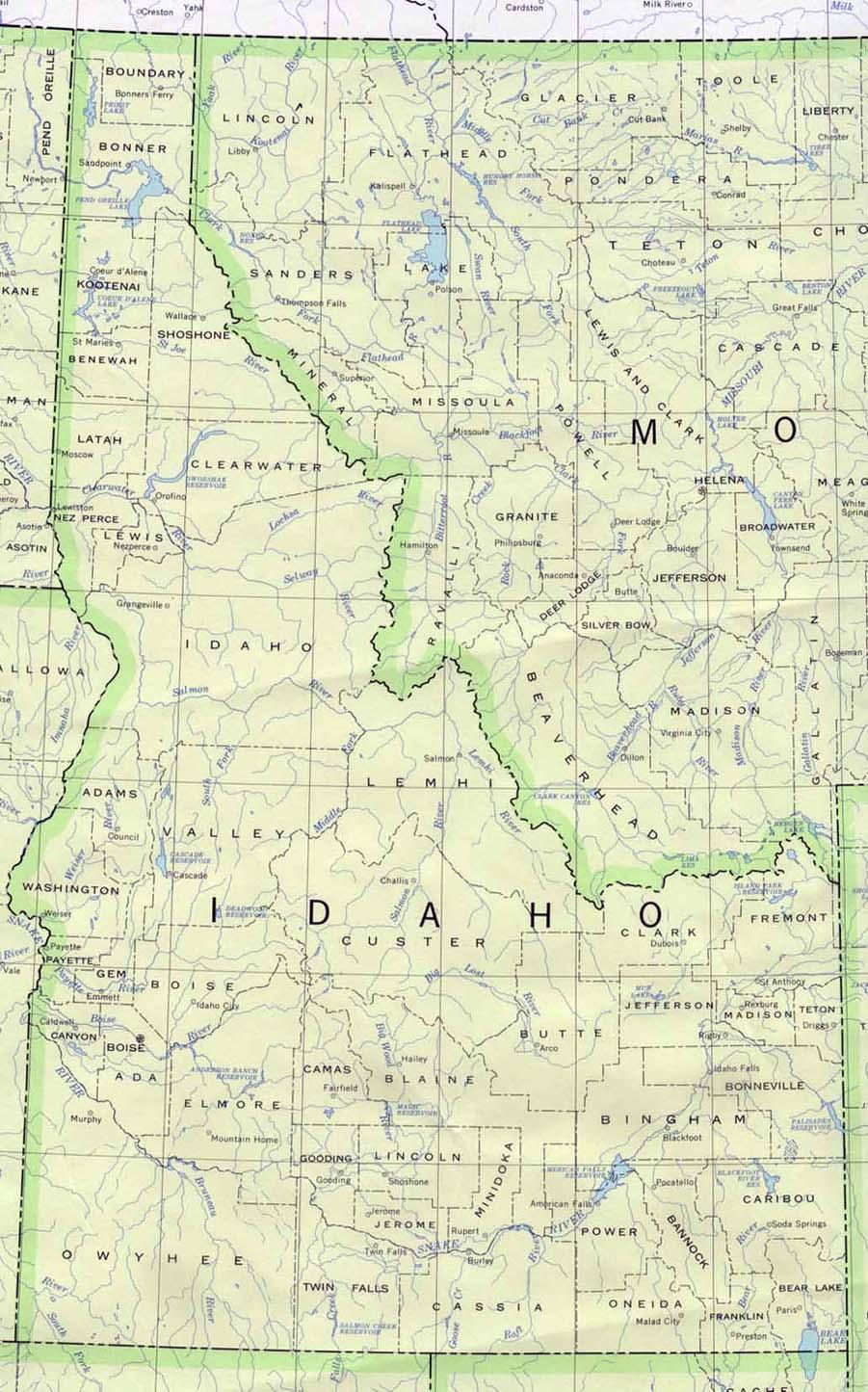 Idaho State Map, United States