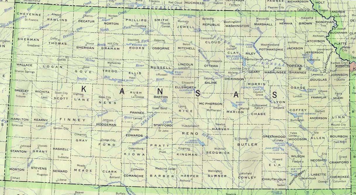 Mapa del Estado de Kansas, Estados Unidos