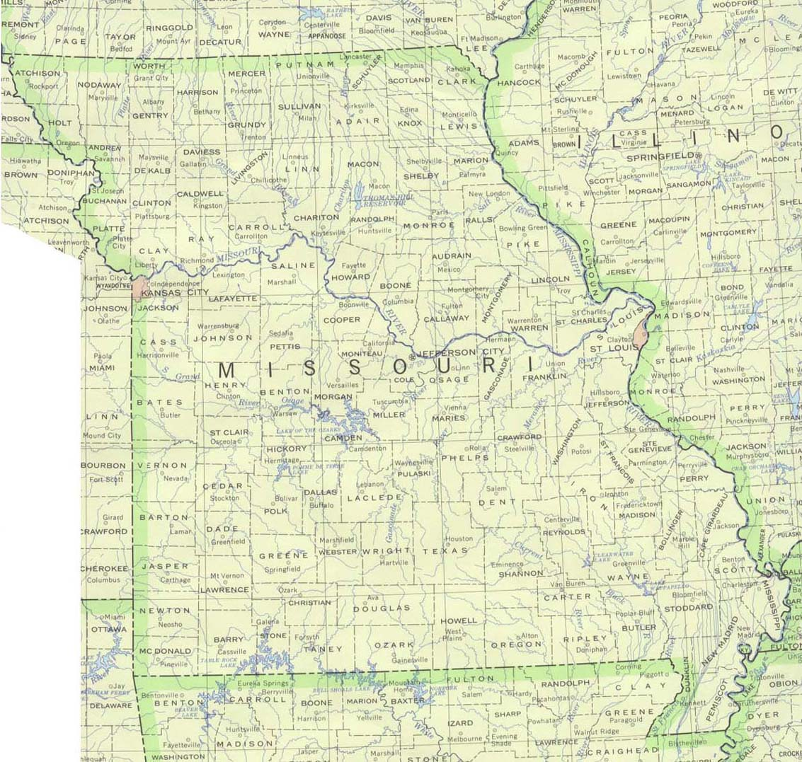 Mapa del Estado de Missouri, Estados Unidos
