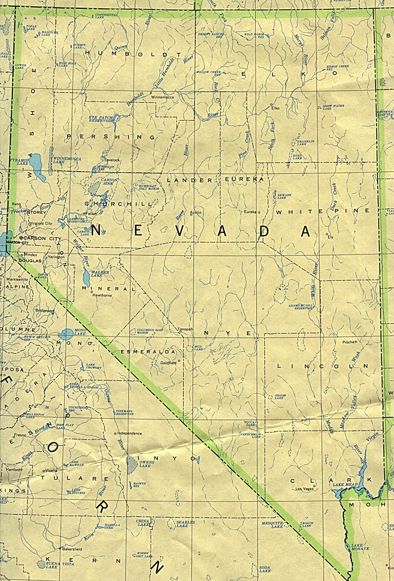 Mapa del Estado de Nevada, Estados Unidos