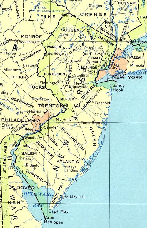 Mapa del Estado de Nueva Jersey, Estados Unidos