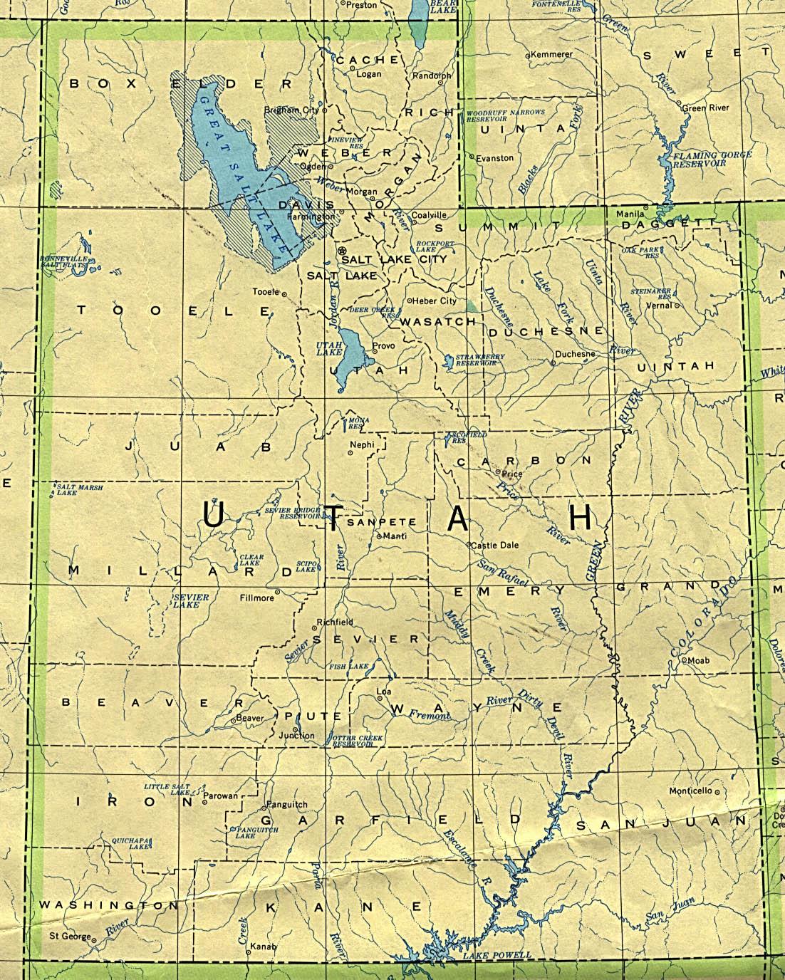 Utah State Map, United States