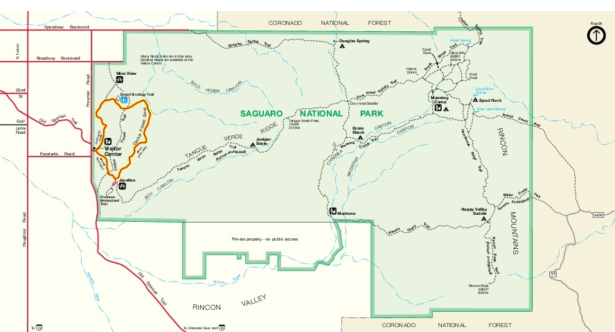Map Of Arizona With National Parks.Maps Of Eastern Saguaro National Park Map Rincon Mountain District