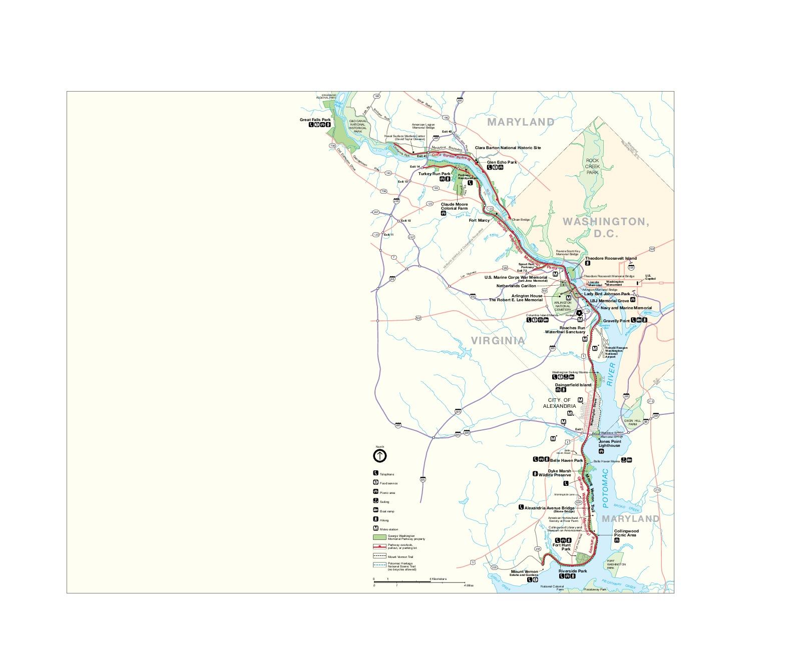Mapa del George Washington Memorial Parkway, Maryland, Virginia, Washington D.Circa, Estados Unidos