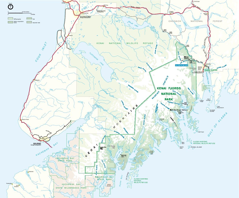 Mapa del Glaciar, Parque Nacional Kenai Fjords, Alaska, Estados Unidos