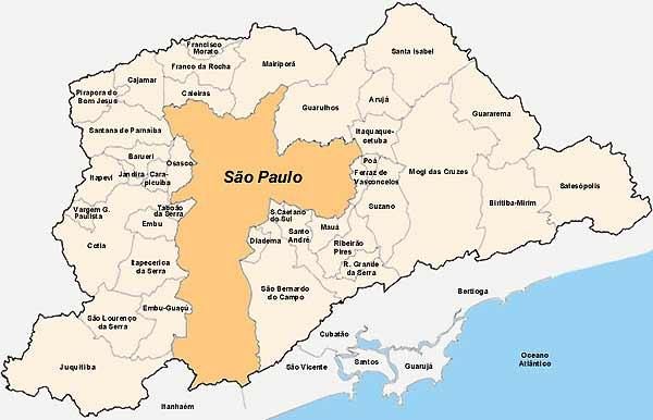 Mapa del Gran São Paulo, Brasil