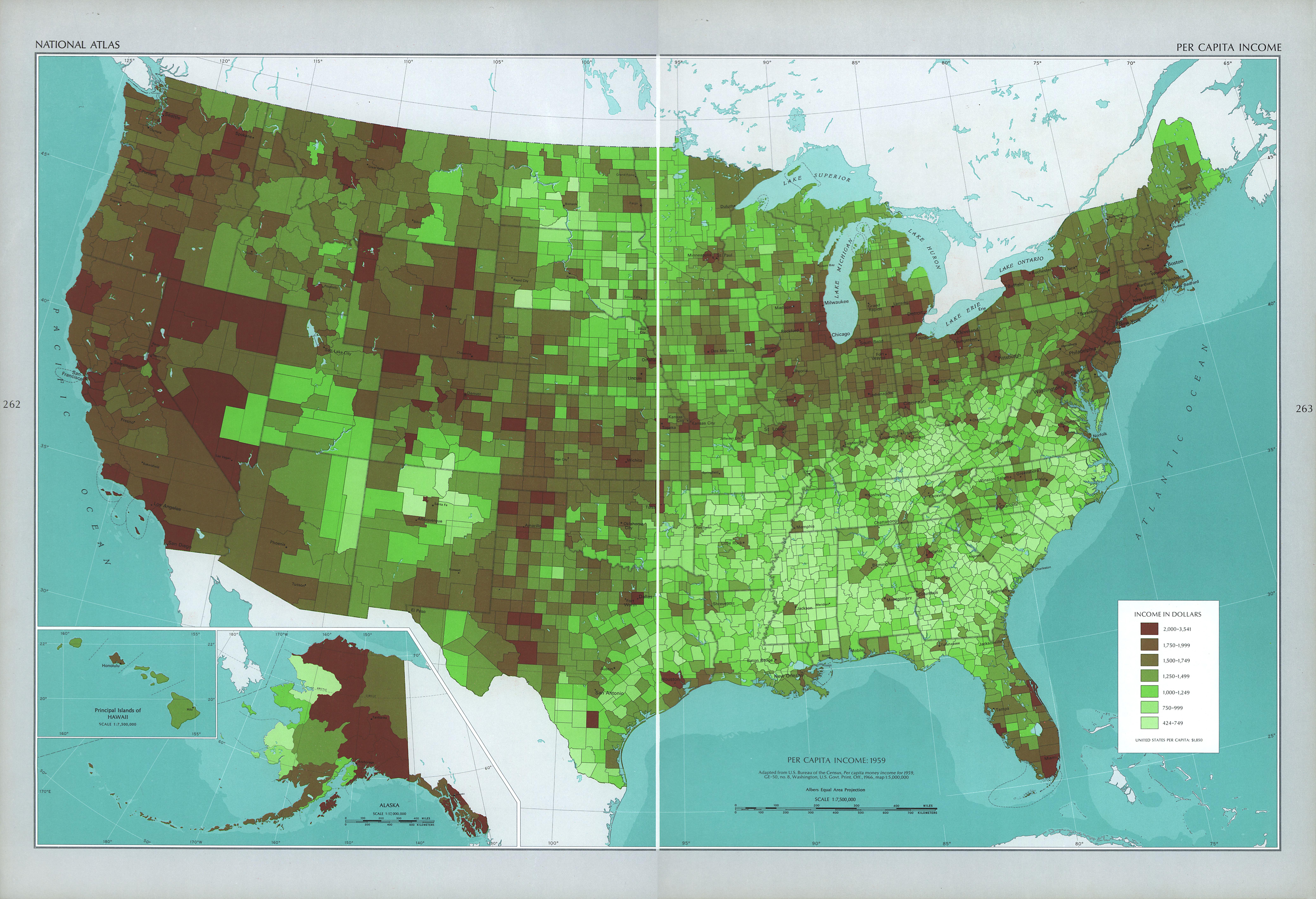 Mapa del Ingreso per Cápita de Estados Unidos