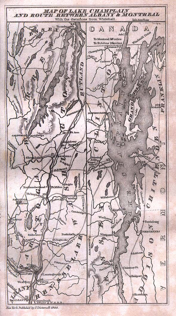 Map of Lake Champlain and Routes Between Albany and Montreal 1844