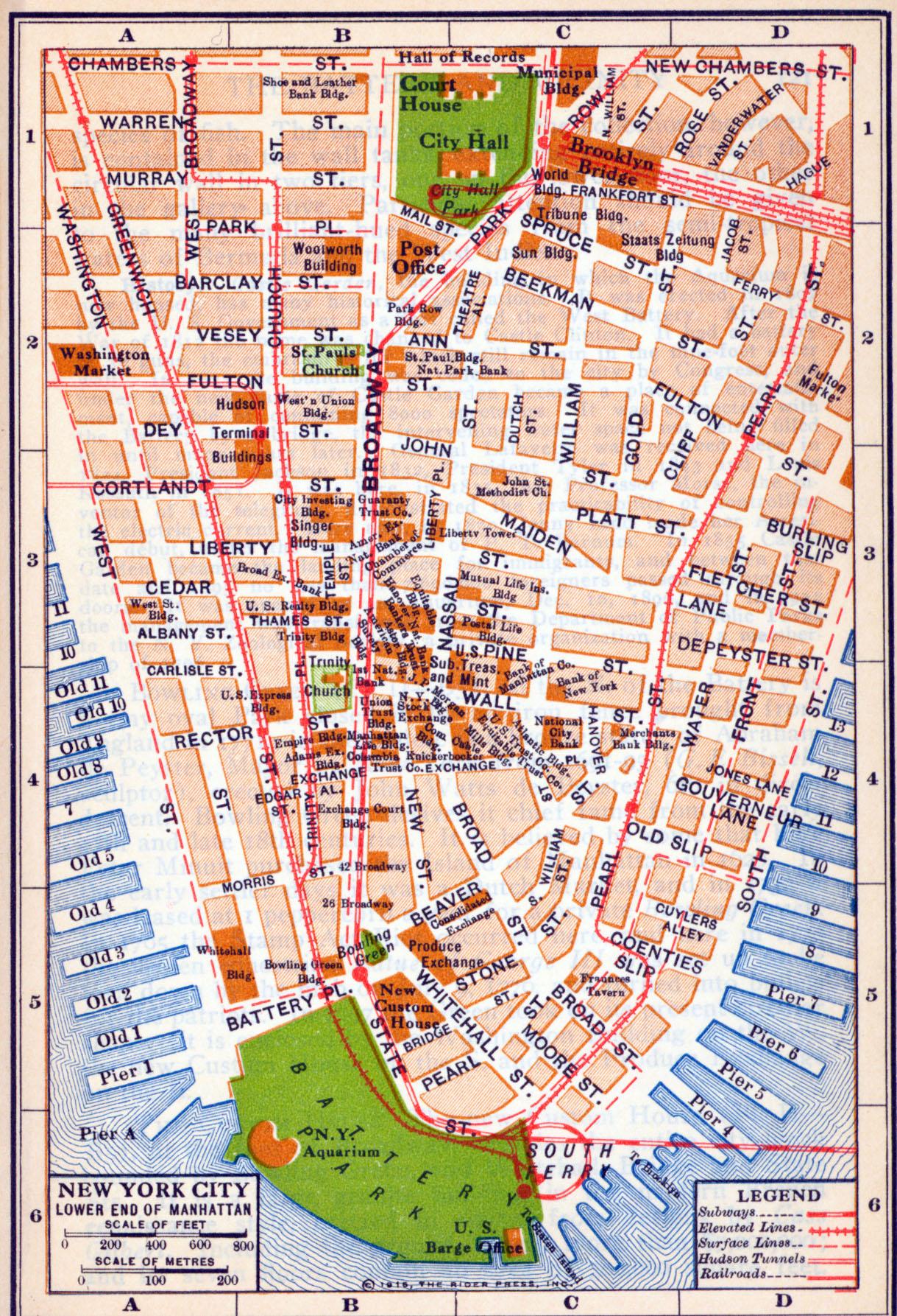 Lower End Manhattan Map, New York City, New York, United States 1916