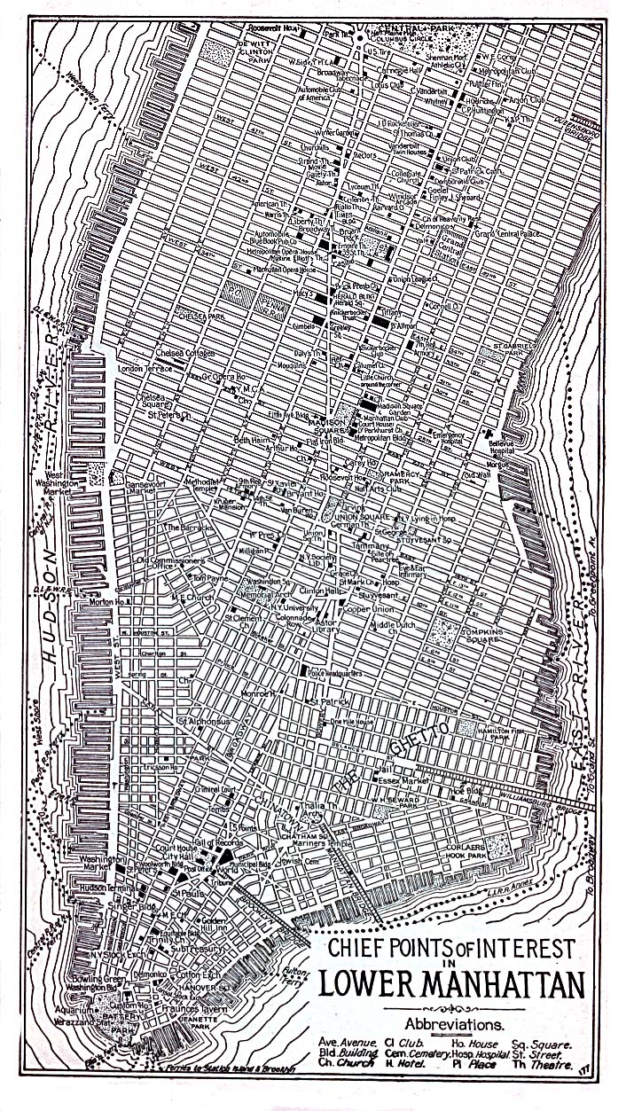 Lower Manhattan Map, New York City, New York, United States 1920