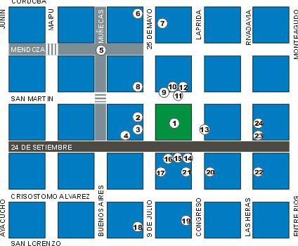 San Miguel de Tucumán Downtown Map, Tucumán Prov., Argentina
